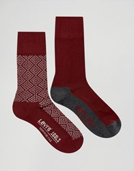 Levi's Socks In 2 Pack Geo Red Red