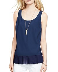 Lauren Ralph Lauren Pleat Hem Tank Authentic Navy