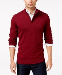 Alfani Men's Mock Turtleneck Marled Sweater Only At Macy's Red Velvet Heather