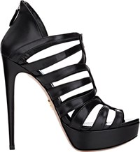 Prada Strappy Back Zip Platform Sandals Black