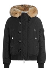 Dsquared2 Down Jacket With Fur Trimmed Hood Black