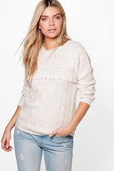 Boohoo Tassel Trim Cable Knit Chunky Jumper Cream