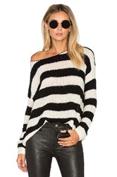 Atm Anthony Thomas Melillo Boatneck Drop Shoulder Sweater Black And White