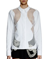 Stella Mccartney Long Sleeve Mesh Inset Blouse White