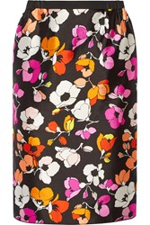 Oscar De La Renta Floral Print Silk And Cotton Blend Gazar Skirt Black