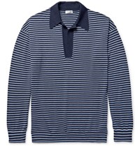 Camoshita Striped Knitted Wool And Cashmere Blend Polo Shirt Navy