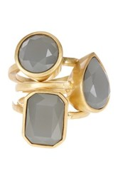 Vince Camuto Glass Stone Stack Ring Set Size 7 Gray