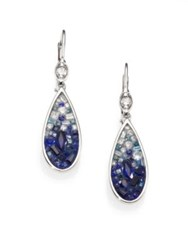 Pleve Blue Ombre Diamond Sapphire And 18K White Gold Teardrop Earrings