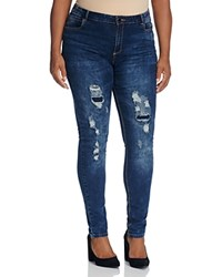 City Chic Dismantle Distressed Skinny Jeans In Dark Denim