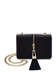 Brian Atwood Alexis Zip Detail Leather Crossbody Bag Black