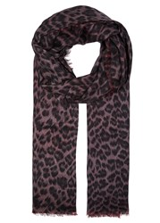 Lily And Lionel Florence Maroon Red Leopard Print Scarf