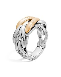John Hardy Sterling Silver And 18K Gold Woven Ring Gold Silver