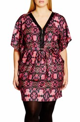 City Chic Plus Size Women's 'Tile Trim' Print Belted V Neck Tunic