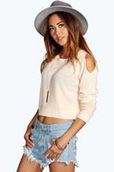 Boohoo Cut Out Shoulder Crop Jumper Nude