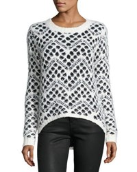 Neiman Marcus High Low Dot Print Sweater Black White