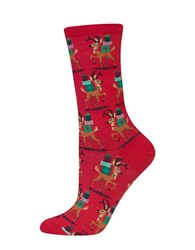 Hot Sox Reindeer And Presents Socks Red