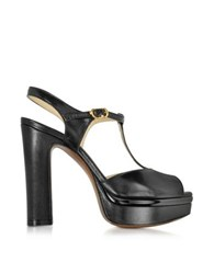 L'autre Chose Vanity Black Leather Platform Sandal