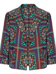 Mela Loves London Mosaic Print Long Sleeved Jacket Green