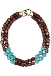 Kenneth Jay Lane Wood And Faux Turquoise Necklace