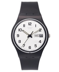 Swatch Watch Unisex Swiss Once Again Black Plastic Strap 34Mm Gb743