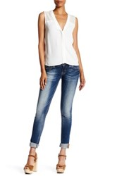 Rock Revival Metallic Topstitch Skinny Jean Blue