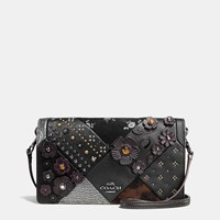 Coach Foldover Crossbody In Embellished Canyon Quilt Leather Dark Gunmetal Black Multi