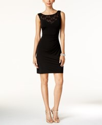 Connected Petite Illusion Lace Sheath Dress Black