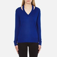 Michael Michael Kors Women's Slash V Neck Sweatshirt Royal