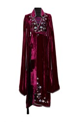 Yuliya Magdych Paradise Apples Velvet Zupan Long Gown Burgundy