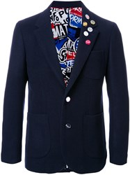Doublet Pinned One Button Blazer Blue