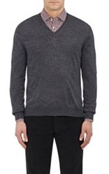 Barneys New York Men's Wool V Neck Sweater Dark Grey