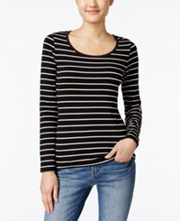 Energie Juniors' Likey Striped Cutout Top Black White