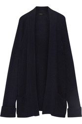 The Row Carissa Ribbed Cashmere And Silk Blend Cardigan Midnight Blue