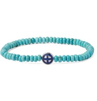 Luis Morais Sun Cross White Gold And Turquoise Bracelet Blue