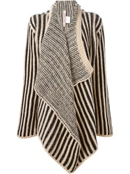 Antonio Marras Striped Draped Cardigan Black