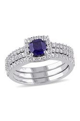 Sterling Silver Created Blue And White Sapphire Bridal Ring Set