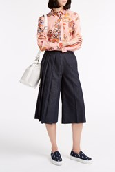Msgm Pleated Chambray Culottes Blue