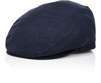 Barneys New York Men's Woven Newsboy Cap Blue