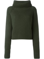 Haider Ackermann Wide Roll Neck Ribbed Sweater Green
