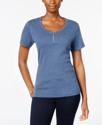 Karen Scott Henley T Shirt Only At Macy's Heather Indigo