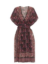 Masscob Floral Print Cotton And Silk Blend Dress Black Multi