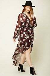 Forever 21 Plus Size Semi Sheer Tunic Burgundy Pink