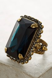 Anthropologie Oblong Crystal Cocktail Ring Navy