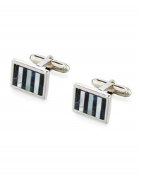 David Donahue Rectangular Sodalite And Mother Of Pearl Striped Cuff Links Silver