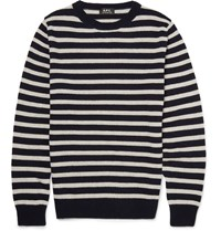 A.P.C. Slim Fit Breton Striped Cashmere Sweater Blue