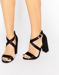 New Look Satin Crossover Block Heeled Sandal Black