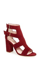 Women's Kate Spade New York 'Ilemi' Block Heel Sandal Red Chestnut Kid Suede