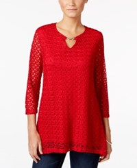 Jm Collection Crochet Keyhole Top Only At Macy's New Red Amore