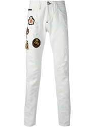 Philipp Plein Patchwork Slim Fit Jeansbuttonbu White