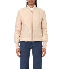 See By Chloe Quilted Bomber Jacket Nude